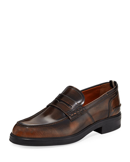 Bally Mody Burnished Leather Penny Loafer