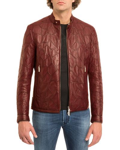 Tiled Calf Leather Jacket