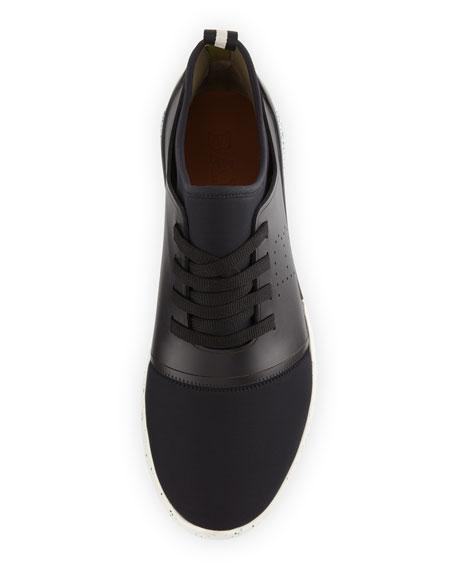 Avro Leather & Neoprene Trainer Sneaker, Black