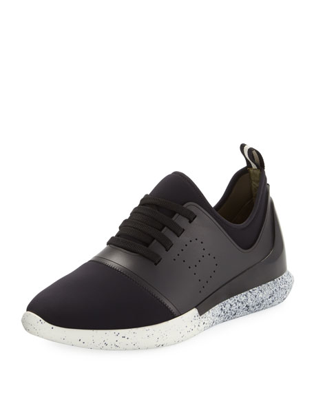 Avro Leather & Neoprene Trainer Sneaker, Black