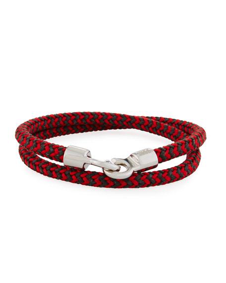 Men's Double Tour Braided Wrap Bracelet, Red