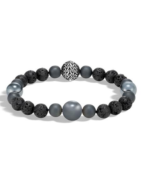 Men's Classic Chain Hematite & Volcanic Bead Bracelet