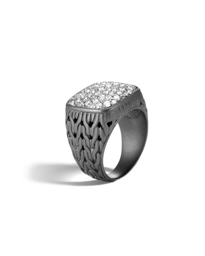 Men's Classic Chain Rhodium-Plated Signet Ring with Diamonds