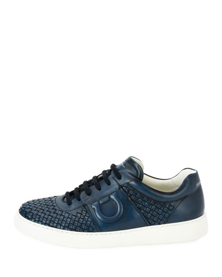 Men's Woven Leather Low-Top Sneakers, Sunset Blue (Indigo)