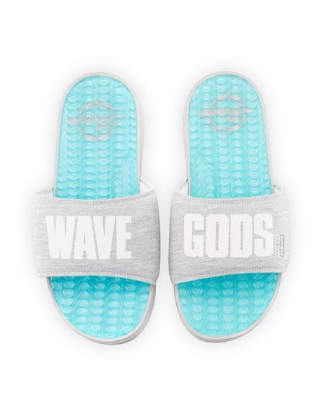 ISlide French Montana Wave Gods Terrycloth Slide Sandal, Blue