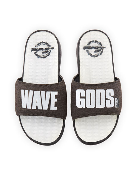 ISlide French Montana Wave Gods Terrycloth Slide Sandal, Black