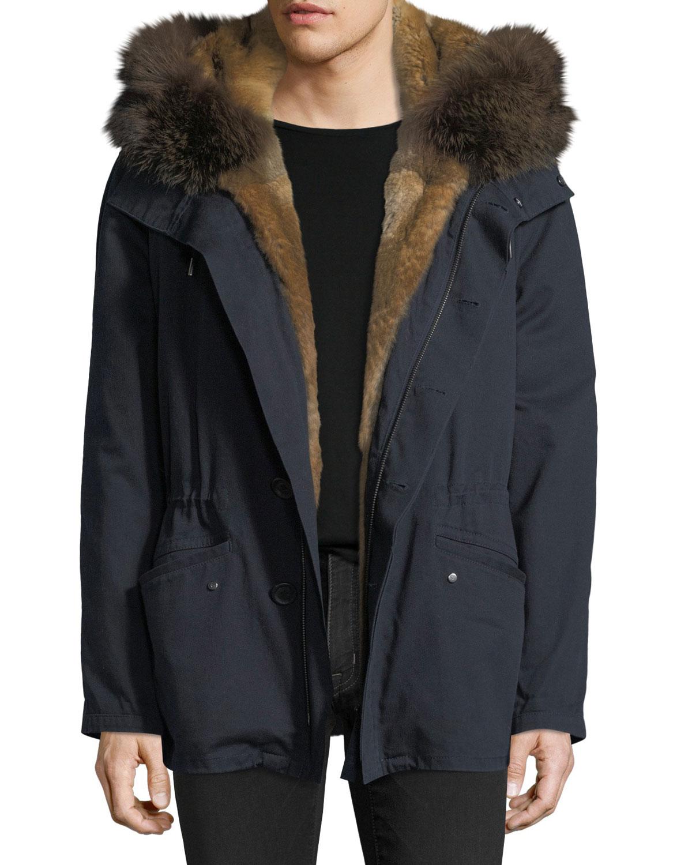 fedf90643b28 Yves Salomon - Men Cotton Jacket w  Fur Details