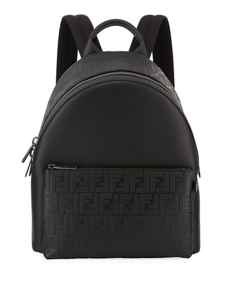 Fendi Signature Leather Logo Backpack