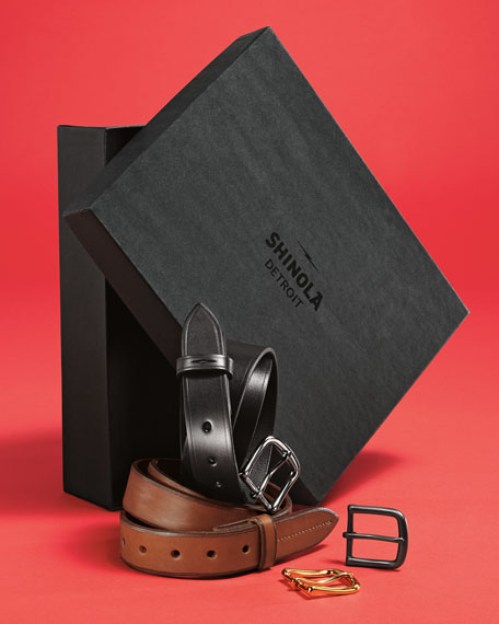 Shinola Men's Leather Belt Boxed Gift Set
