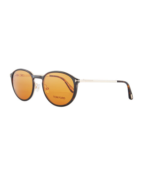 TOM FORD Round Optical Glasses w/ Magnetic Clip