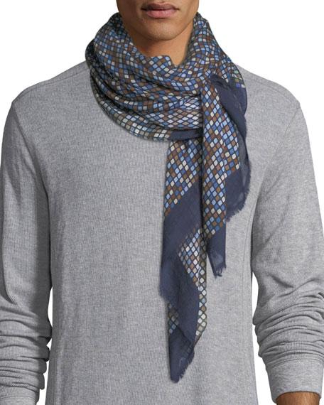 Eton Circle-Print Wool-Blend Scarf