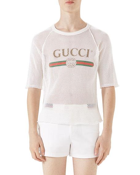 Gucci Logo-Graphic Cotton Mesh T-Shirt