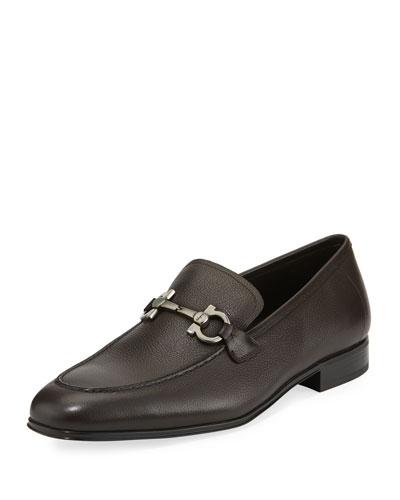 Men's Textured Calfskin Gancini Loafer  Brown