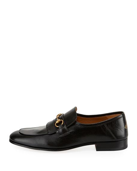 Leather Fringe Horsebit Loafer