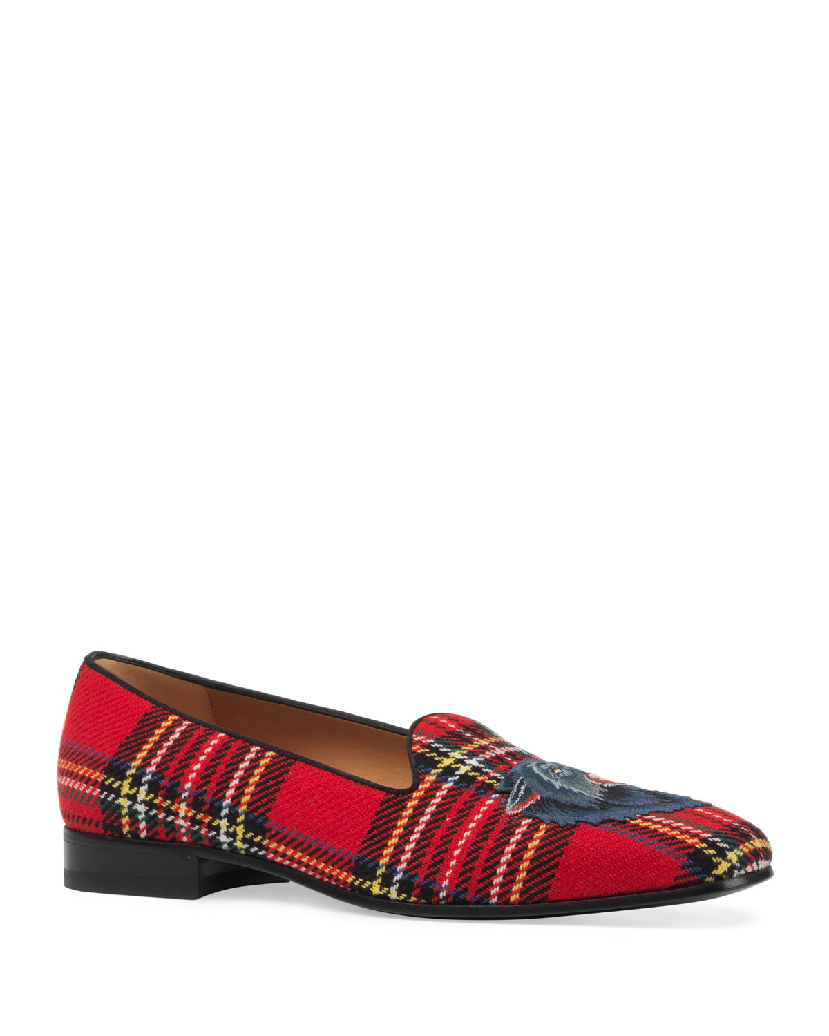 a08967af499 Gucci Tartan Slipper with Wolf Appliqué