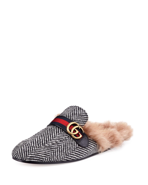 ea3982cd1ae Gucci Princetown Herringbone Slipper with Double G