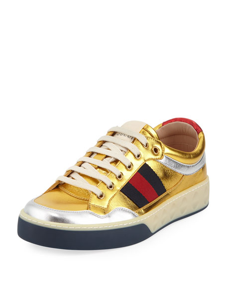 Gucci More Low-Top Metallic Leather Sneaker