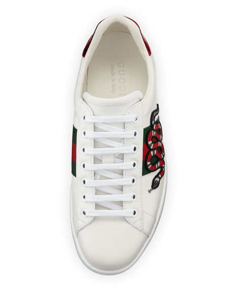 3e08a3c07 Gucci New Ace Men's Snake Sneakers, White | Neiman Marcus