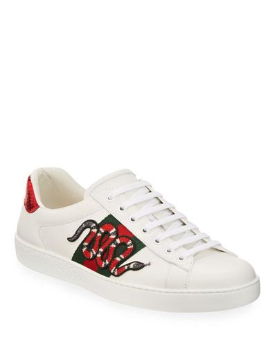 New Ace Men's Snake Sneakers  White