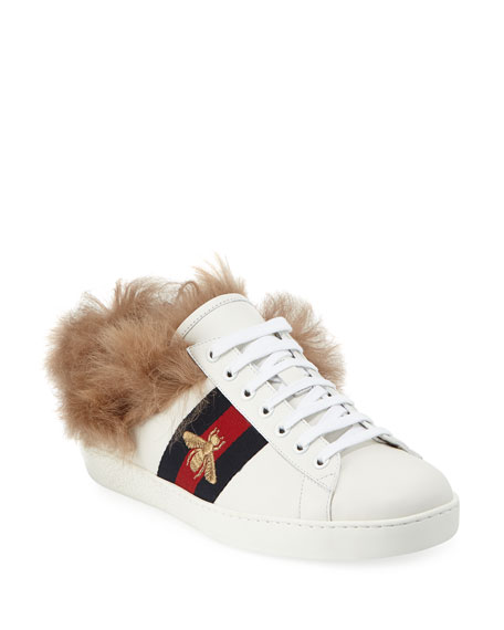 Gucci Ace Fur-Lined Leather Low-Top Sneaker