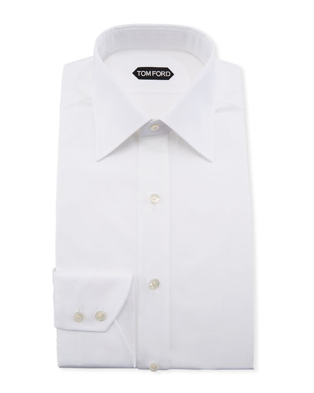 TOM FORD Solid Barrel-Cuff Dress Shirt, White