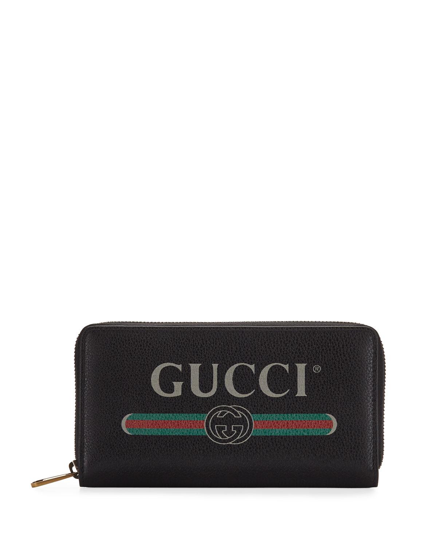 b3caff8da0cf Gucci Logo Zip-Around Wallet   Neiman Marcus