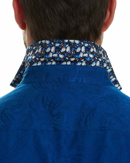 Gypsy Tonal Jacquard Short-Sleeve Sport Shirt