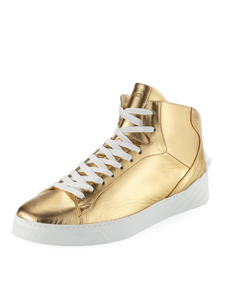 Men's Metallic Leather High-Top Sneakers with Medusa
