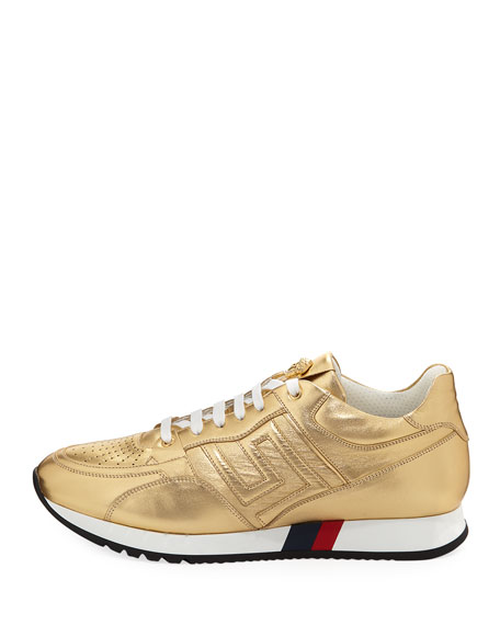 Greek Key Running Shoe, Gold