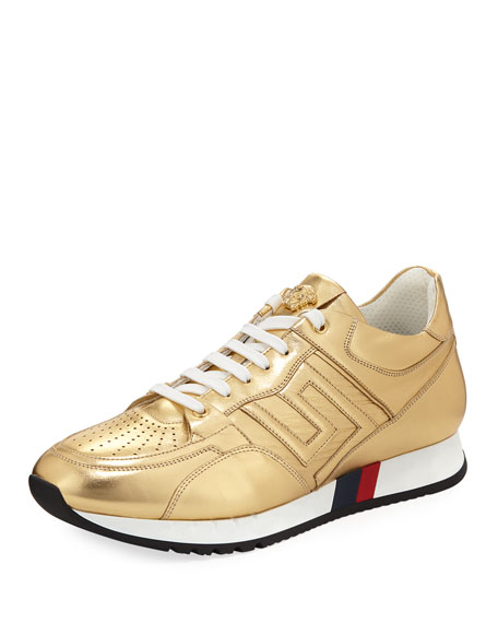 Versace Greek Key Running Shoe, Gold