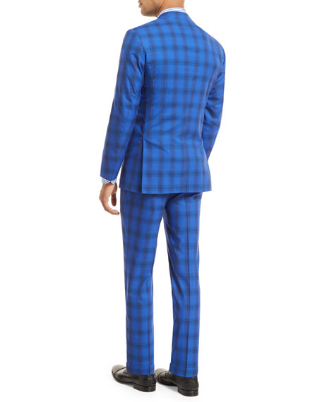 Kiton Ombre Plaid Two-Piece Suit