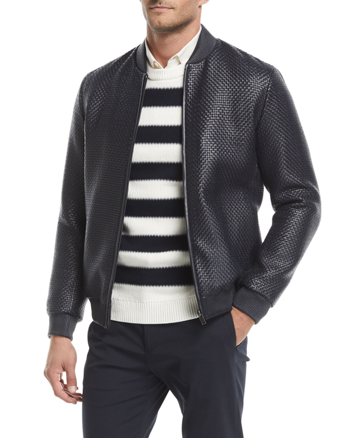849680eb8 Sterling Woven-Leather Jacket