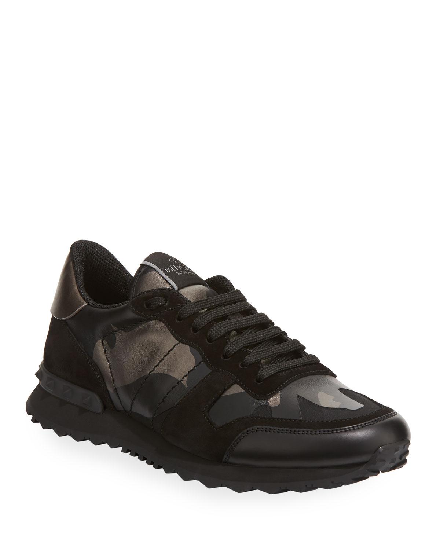 b04697fe10e5 Valentino Garavani Men s Rockrunner Camo Leather Sneakers