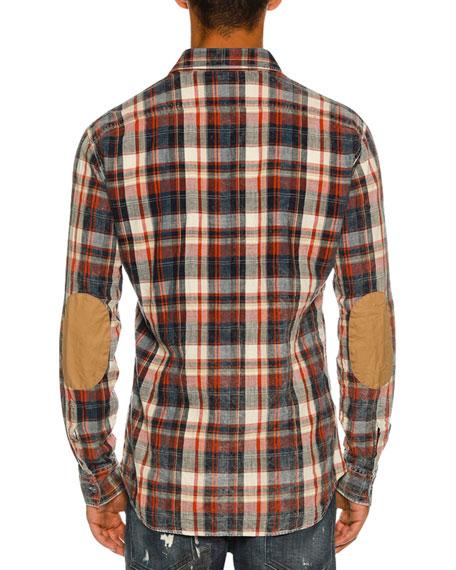 Bleached Check-Print Shirt