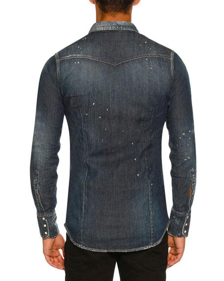 Washed Denim Western Shirt