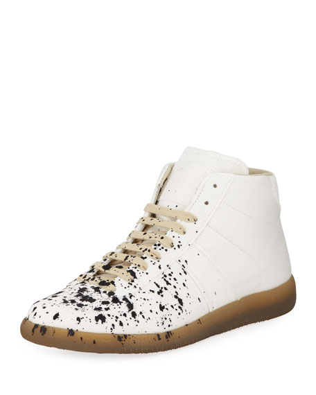 Maison Margiela Splatter-Print Painter Low-Top Sneaker