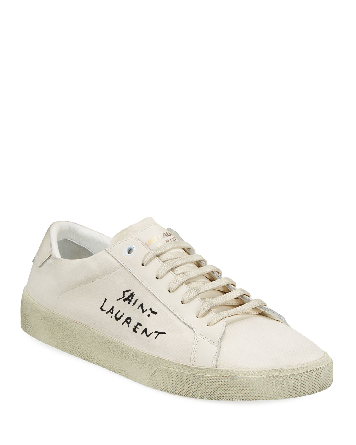 680a478ab20 Saint Laurent Men's Canvas Low-Top Sneakers, White | Neiman Marcus