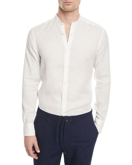 Ermenegildo Zegna Linen Band-Collar Sport Shirt