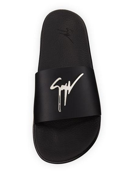 Logo Leather Slide Sandal
