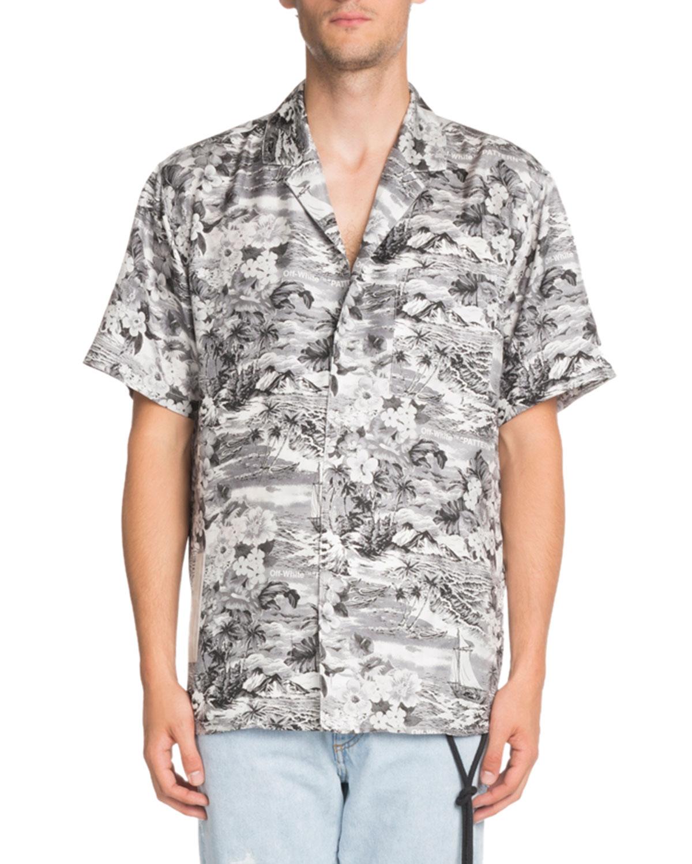 9c2a7f24 Off-White Hawaiian-Print Short-Sleeve Silk Sport Shirt | Neiman Marcus