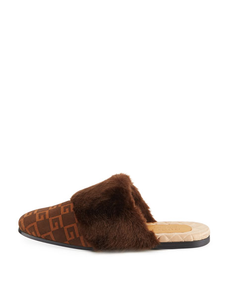 Suede Square G and Synthetic Fur Slipper