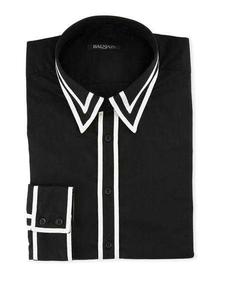 Ruban Contrast-Trim Sport Shirt