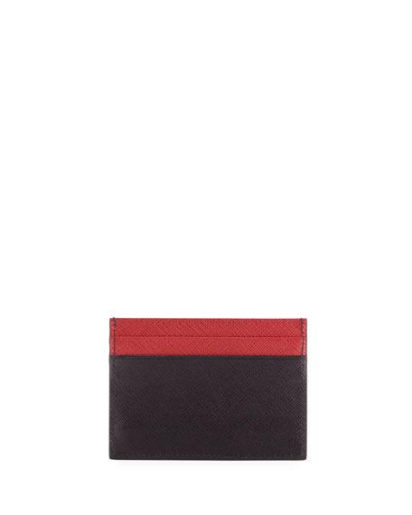 Colorblock Saffiano Leather Card Case