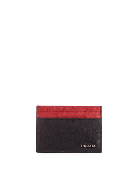 Prada Colorblock Saffiano Leather Card Case