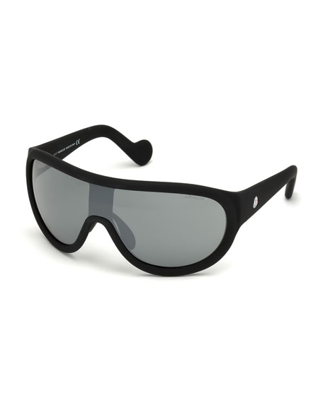 Mirrored Shield Sunglasses, Black/Gray
