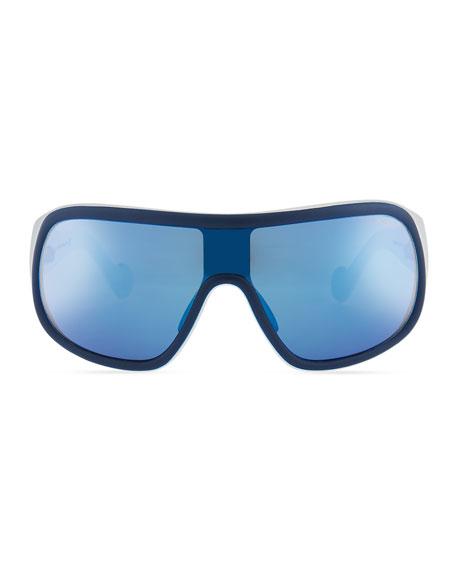 Men's Mirrored Shield Sunglasses, Blue