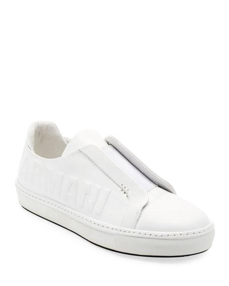 Men's Logo-Embossed Slip-On Low-Top Sneakers, White