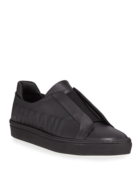 Giorgio Armani Men's Logo-Embossed Slip-On Low-Top Sneakers, Black