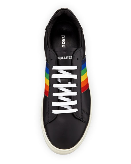 Men's Rainbow-Stripe Low-Top Sneakers, Black