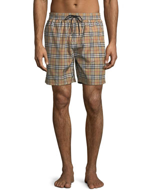 bc2175cb81 Burberry Guildes Signature-Check Swim Trunks